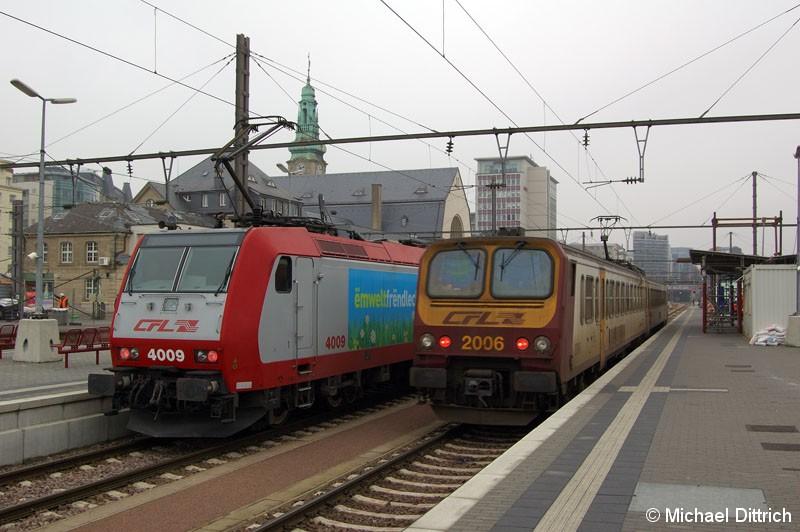 Bild: 4009 als Regionalbahn nach Athus und 2006 bei der Einfahrt im Bahnhof Luxembourg.