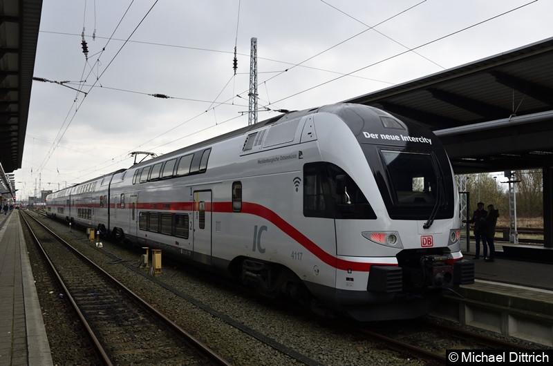 4110 517 als Sonderzug 2999 nach Berlin Hbf. in Rostock Hbf.