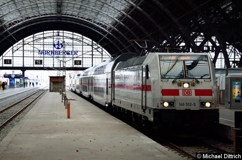 146 552 mit dem IC 2037 in Leipzig Hbf.