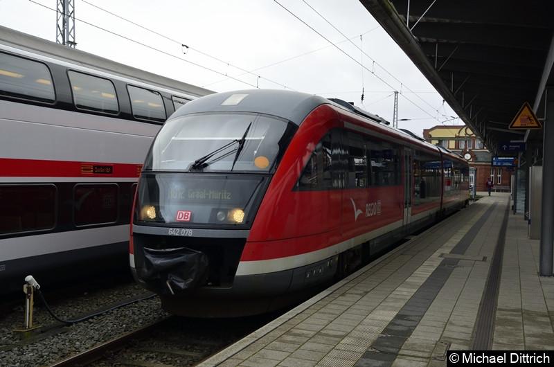 642 078 als RB 12 in Rostock Hauptbahnhof.