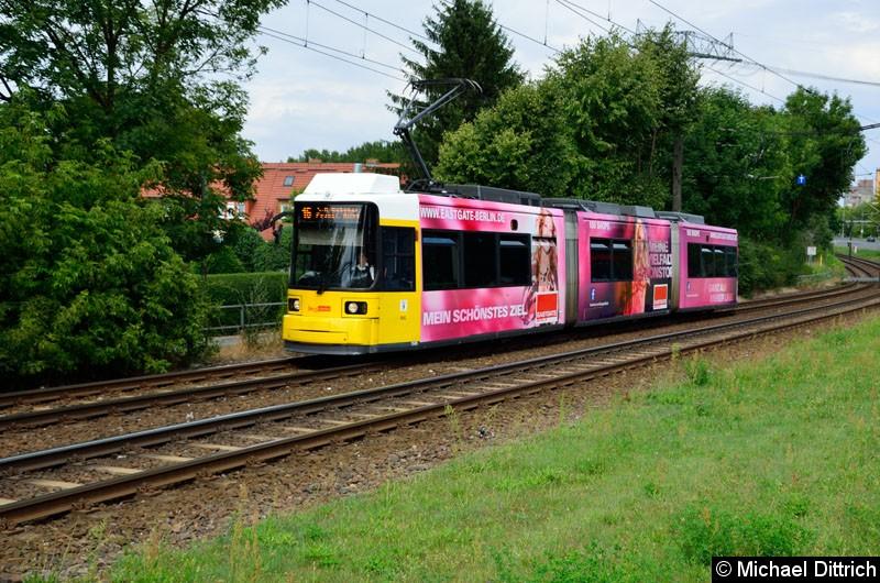 Bild: 1509 als Linie 16 kurz vor der Haltestelle Landsberger Allee/Rhinstr.