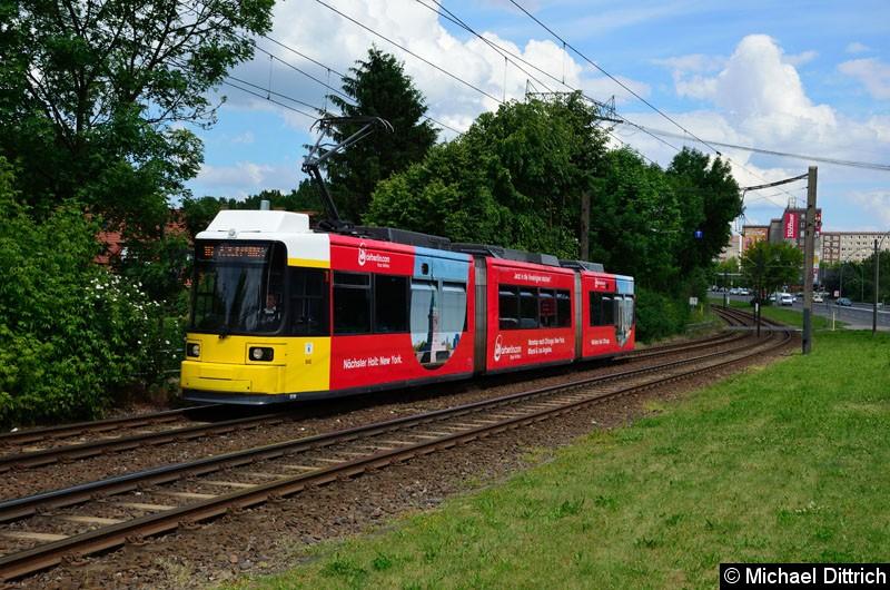 Bild: 1510 als Linie 16 kurz vor der Haltestelle Landsberger Allee/Rhinstr.
