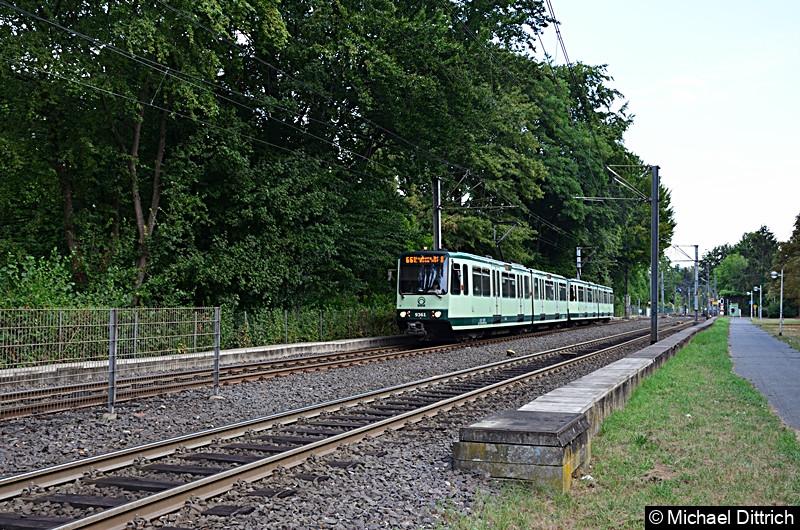 9361 und 9373 als Linie 66 bei der Ankunft an der Haltestelle Oberkassel Süd/Römlinghoven.