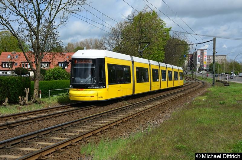 8005 als Linie 16 zwischen den Haltestellen Landsberger Allee/Rhinstr. und Dingelstädter Str.