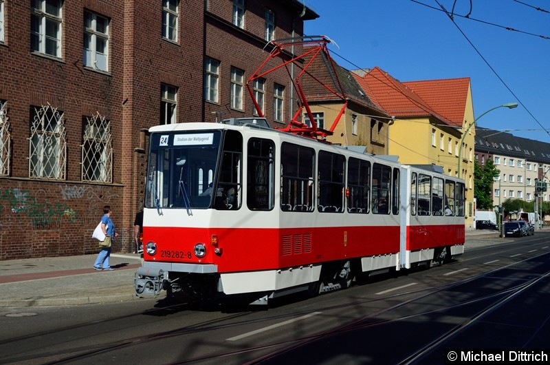 219 282-8 erreicht nach einer kleinen Sonderfahrt den Betriebshof Köpenick.