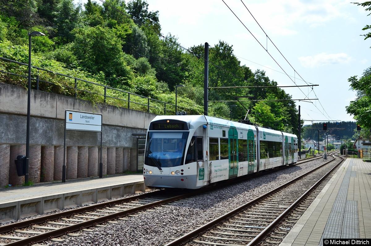 1005 erreicht die Haltestelle Landsweiler Nord mit Ziel Lebach.