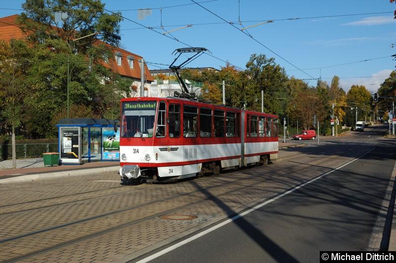 314 als Linie 1 kurz vor dem Hauptbahnhof.