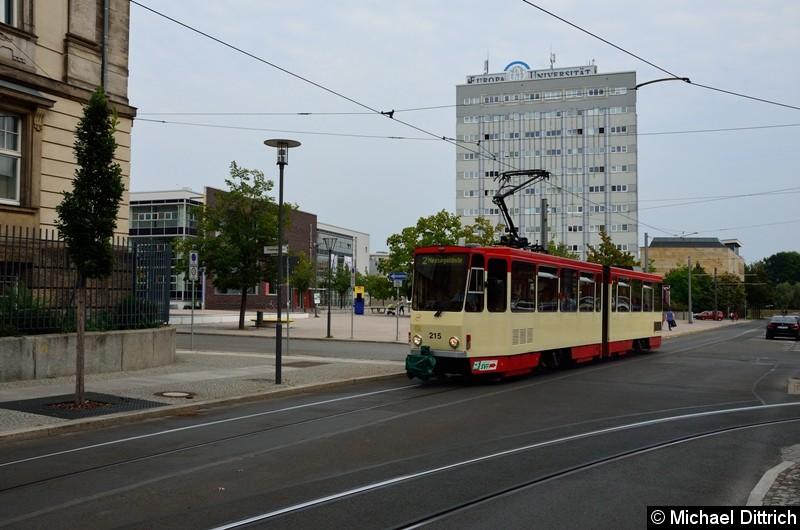 Wagen 215 als Linie 2 zum Messegelände in der Logenstraße.