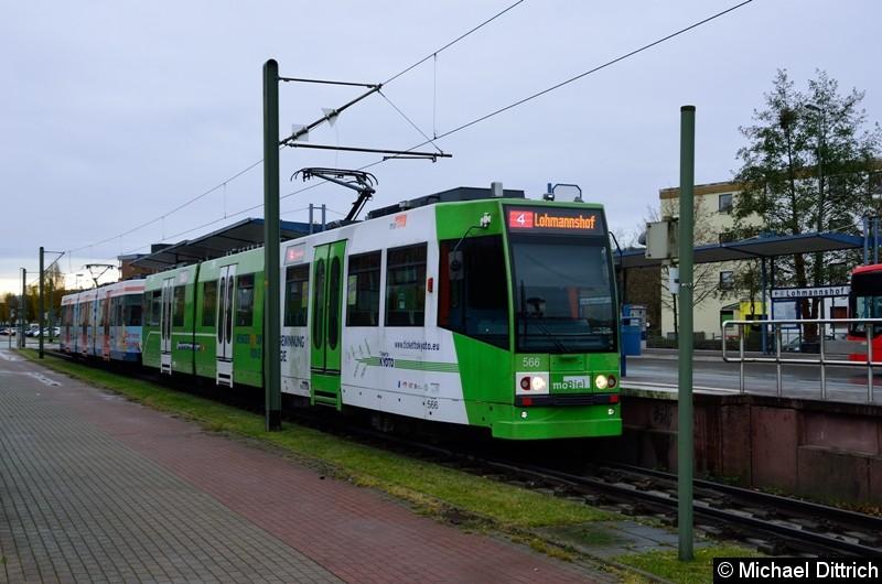 Wagen 566 und 567 als Linie 4 an der Endstelle Lohmannshof.