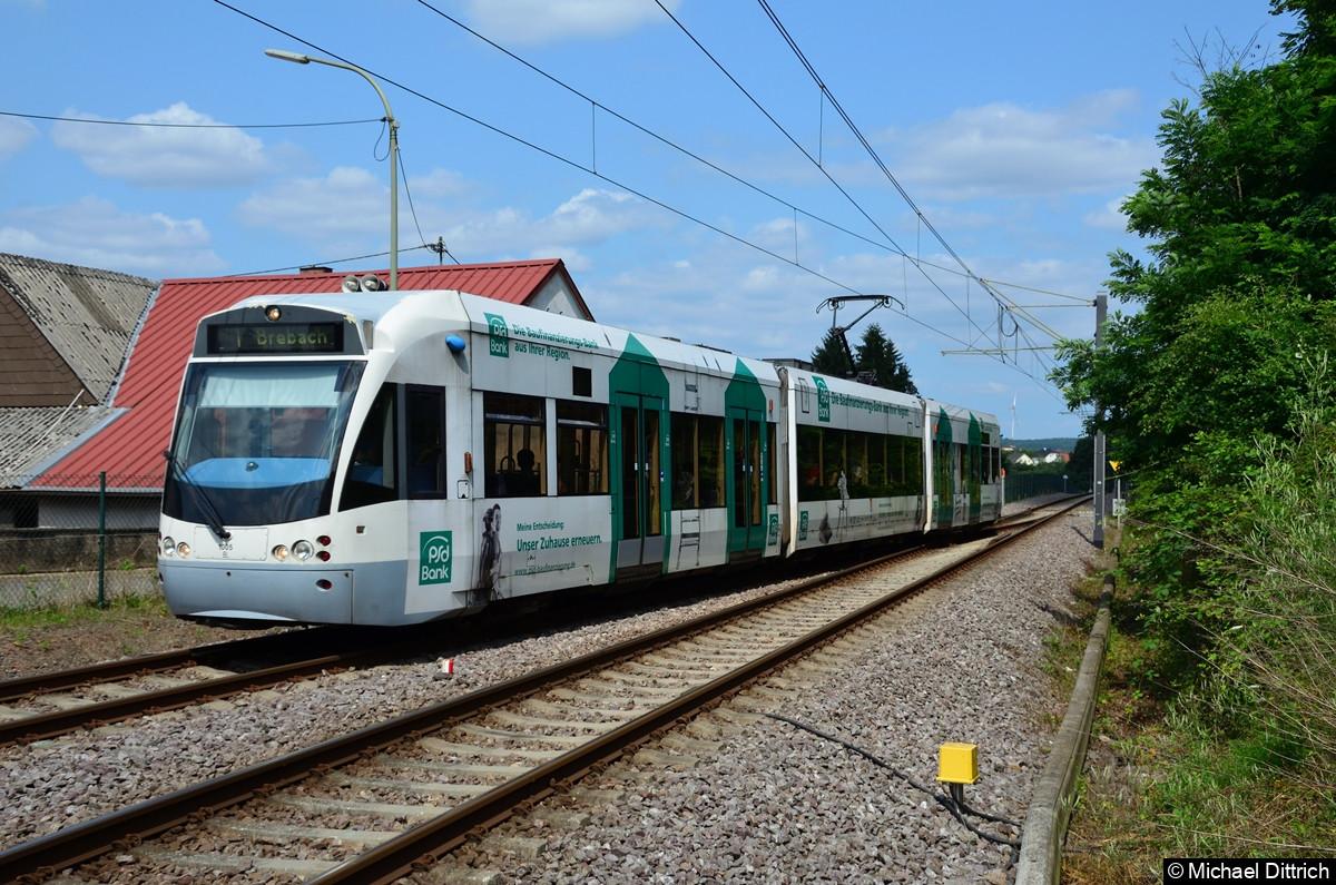 1005 kurz vor der Einfahrt in Landweiler Nord in Richtung Brebach. Die gesamte Strecke (Saarguemines - Lebach) wird nur von einzelnen Fahrten durchgeführt.