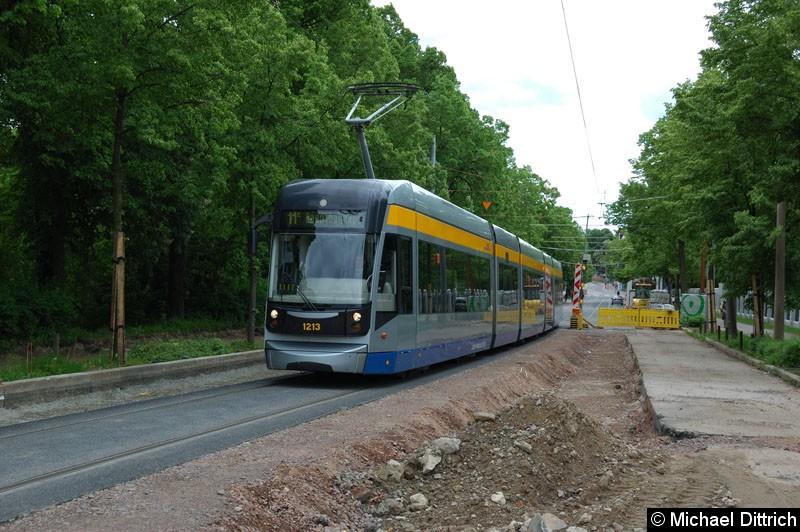 Bild: 1213 als Linie 11E in der Bornaische Str. zwischen den Haltestellen Raschwitzer Str. und S-Bahnhof Connewitz.