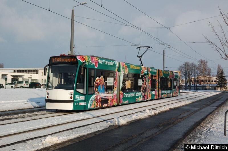 Bild: Combino 635 als Linie 1 kurz vor der Haltestelle Mittelhäuser Str.