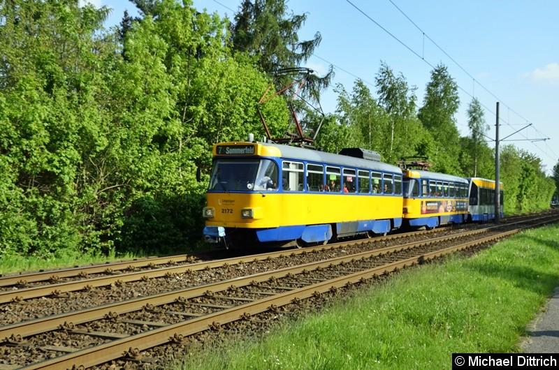 2172 + 2072 + 931 als Linie 7 zwischen den Haltestellen Strabf. Paunsdorf und Am Vorwerk.