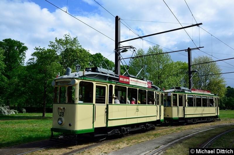Bild: Wagen 23 und 124 in der Wendeschleife Herrenkrug.