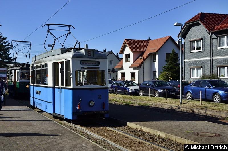 Wagen 39 stand ebenfalls in Bad Tabarz und konnte da besichtigt werden. Der Wagen 23 hinter dem Wagen.