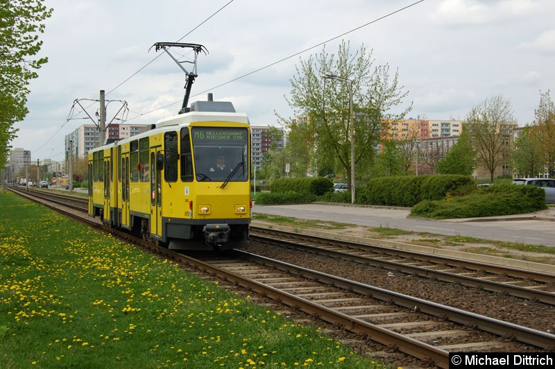 Bild: 6151 als Linie M6 vor der Haltestelle Kastanienallee/Zossener Straße.