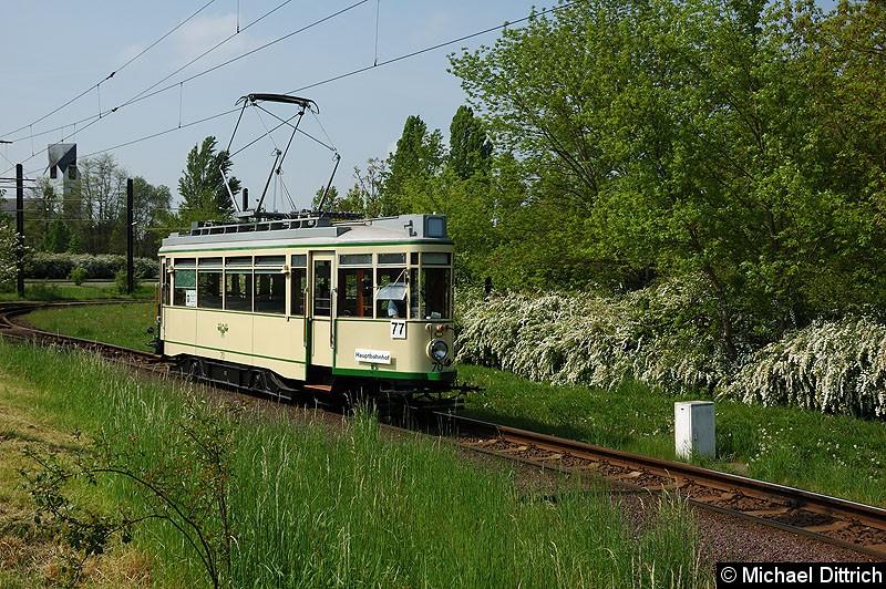 Bild: Wagen 70 als Linie 77 anlässlich 30 Jahre Strecke nach Olvenstedt: Hier in der Wendeschleife Olvenstedt.