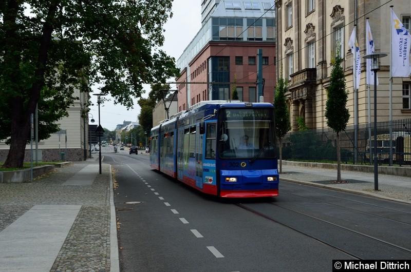 Wagen 302 als Linie 2 in der Logenstr. auf dem Weg zur Europa-Universität.