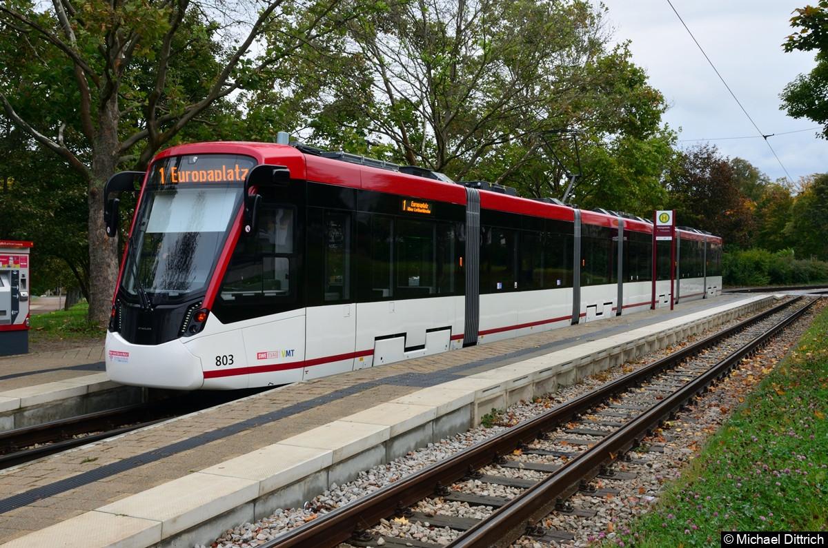 803 als Linie 1 an der Thüringenhalle.