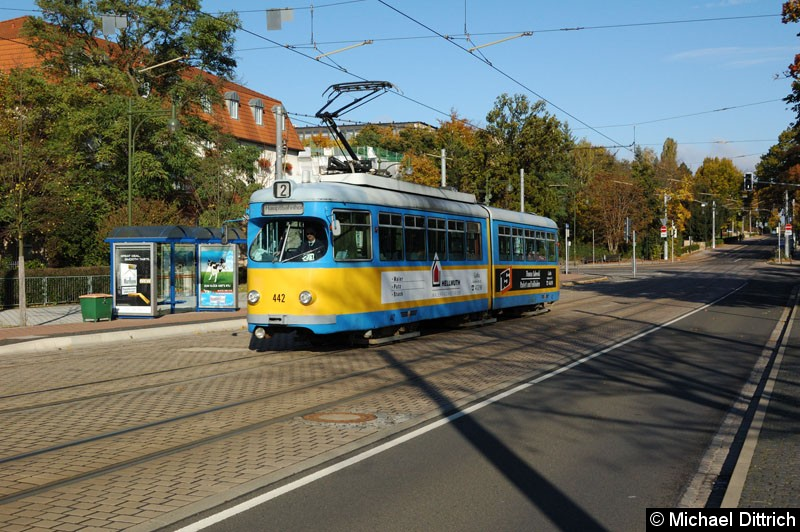 Bild: 442 als Linie 2 kurz vor dem Hauptbahnhof.