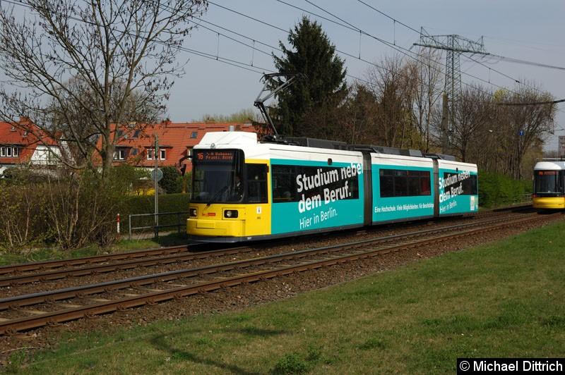 Bild: 1507 als Linie 16 kurz vor der Haltestelle Landsberger Allee/Rhinstr.