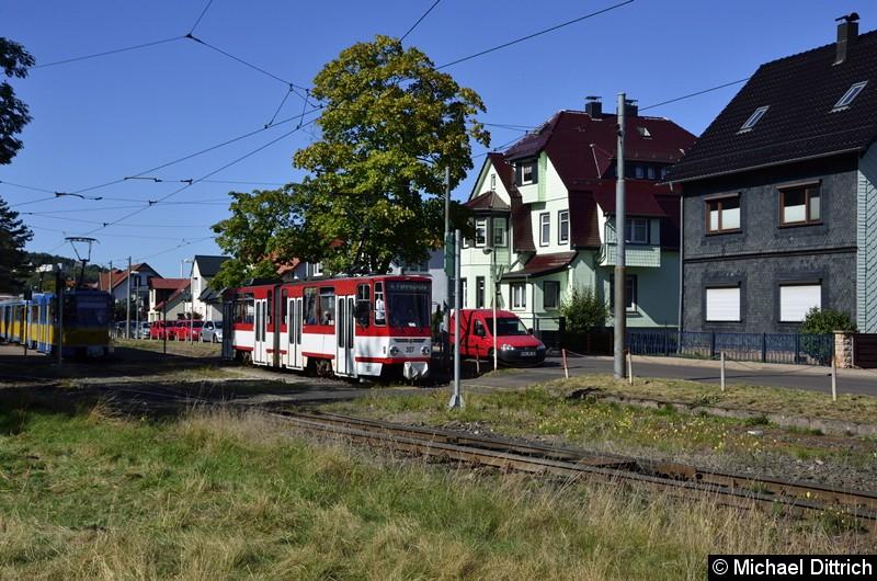 Wagen 307 verlässt als Fahrschule Bad Tabarz.