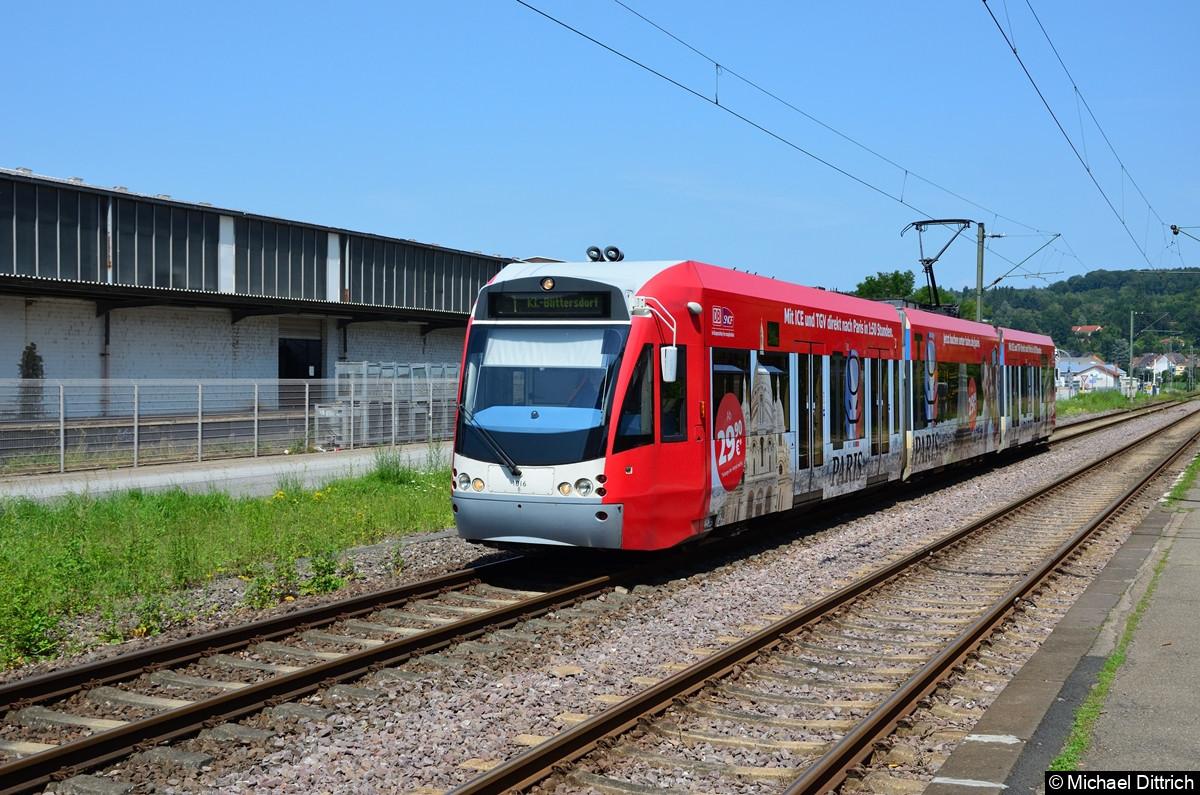 1016 auf dem Weg nach Klein Blittersdorf kurz vor dem Halt in Bübingen.
