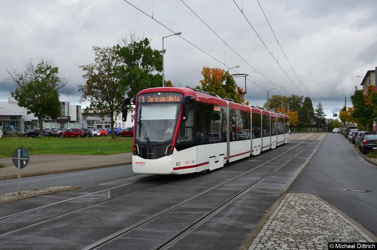 803 als Linie 1 an der Mittelhäuser Straße.