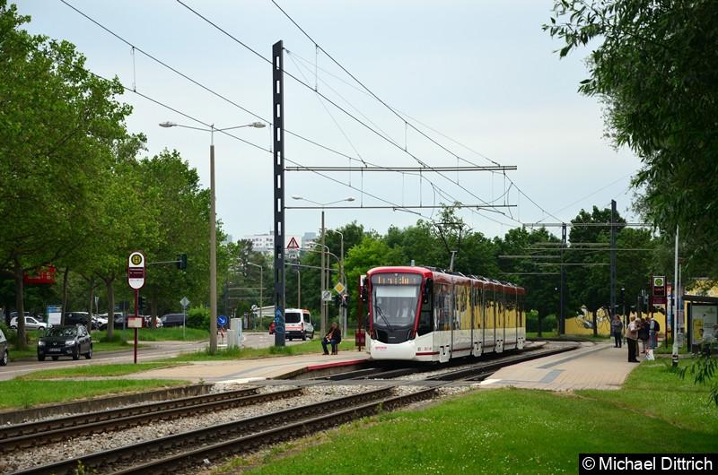 Als Fahrschule ist der Tramlink 801 unterwegs und steht hier an der Haltestelle Färberwaidweg.
