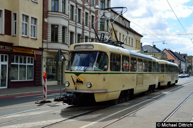 Bild: Wagen 1001 und 2002 auf dem Weg nach Westerhüsen, um die anderen historischen Wagen nach Hause zu holen.