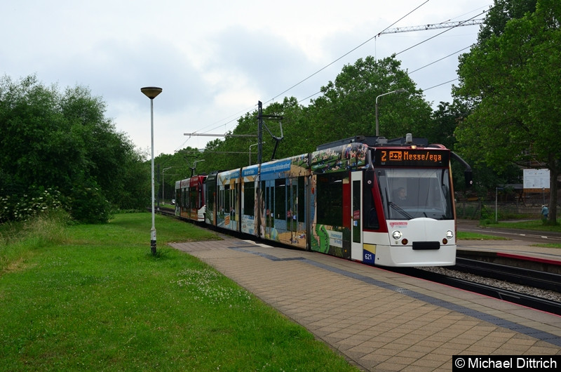 Combino 621 und 703 erreicht als Linie 2 die Haltestelle Färberwaidweg.