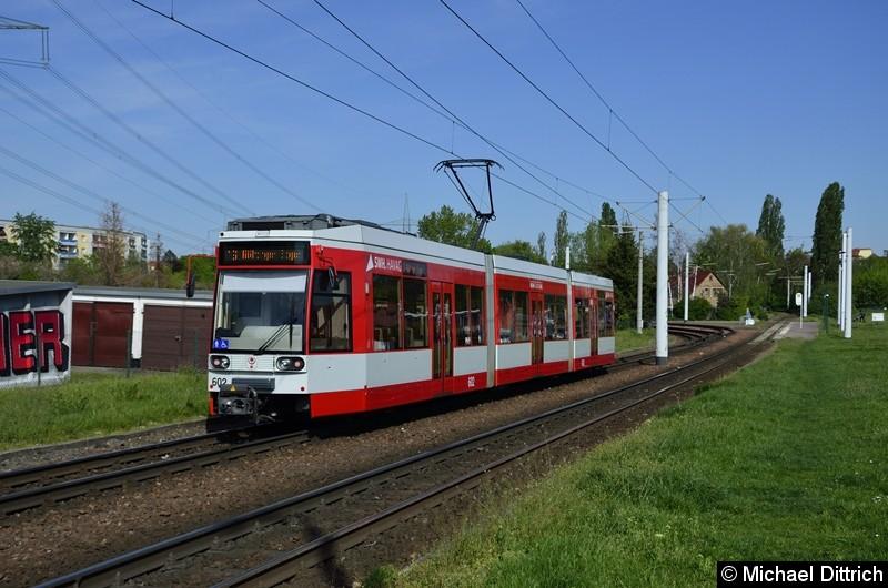 602 als Linie 16 kurz nach der Abfahrt in Beesen.