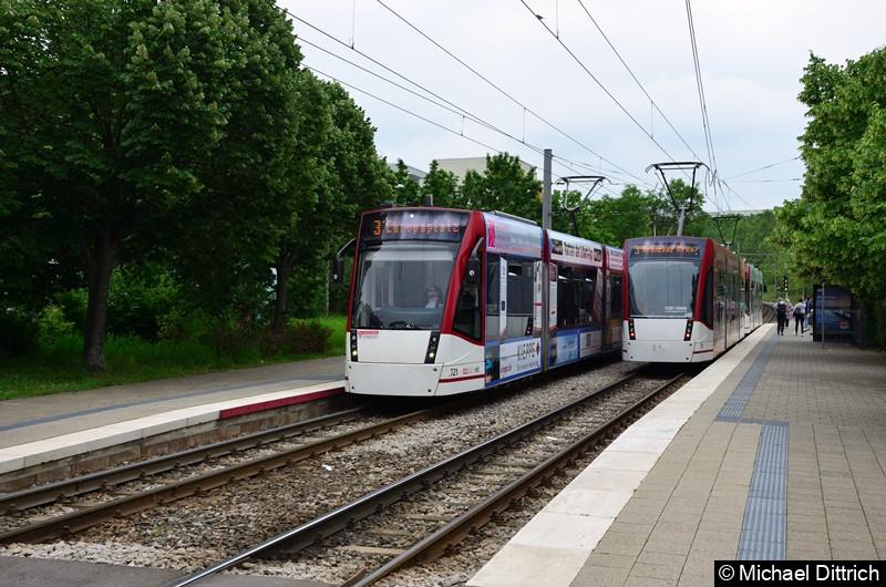 Links: Combino 721 und 706, rechts Combino 714 und 713 an der Haltestelle Melchendorf Markt